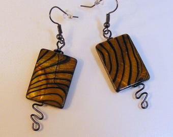 Amber Stripe Rectangle Shell Earrings