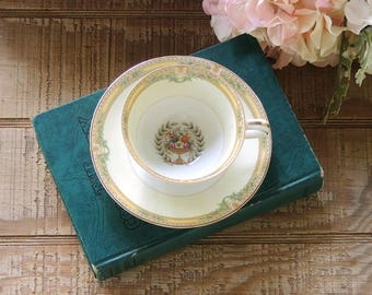 Antique Noritake China Empire Footed Tea Cup and Saucer Set Ca. 1948
