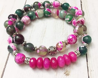 A Beautiful set of fuchsia pink and green faceted agate stone stacking bracelets by Jules Jewelry Box