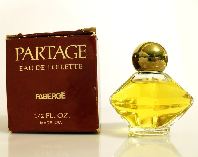 Vintage Perfume 1970s Partage by Faberge 0.5 oz Eau de Toilette Splash Mini Miniature and Box DISCONTINUED