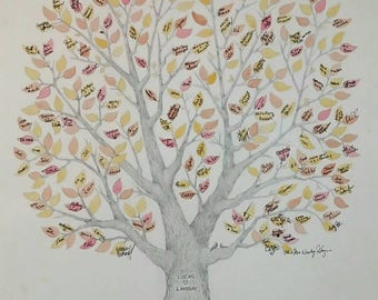 "Large 22"" x 30"" Wedding Guest Book Tree OR Family Reunion Tree ~ Custom, Hand-Drawn & Watercolored~FREE US Shipping"