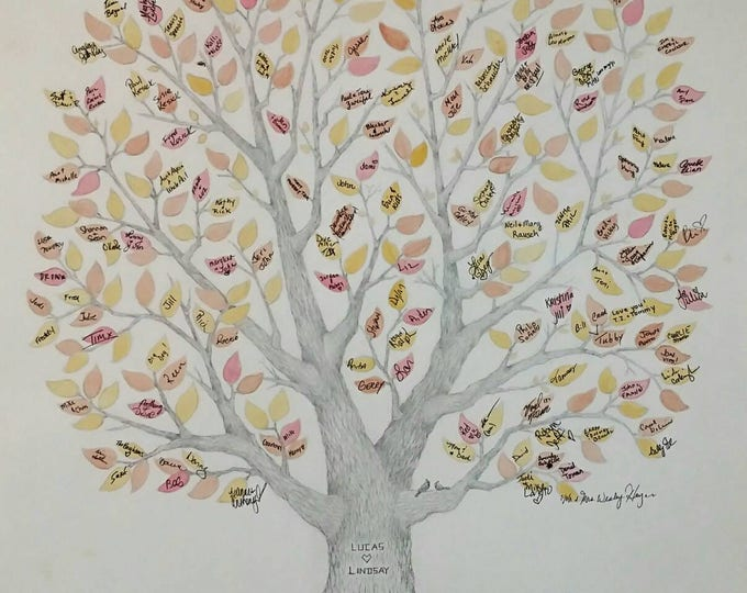 """Featured listing image: Large 22"""" x 30"""" Wedding Guest Book Tree OR Family Reunion Tree ~ Custom, Hand-Drawn & Watercolored~FREE US Shipping"""