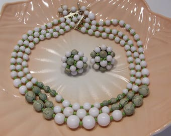 Three Strand Green and White Lucite Plastic Bead Necklace and Matching Clip Earrings Made in Japan