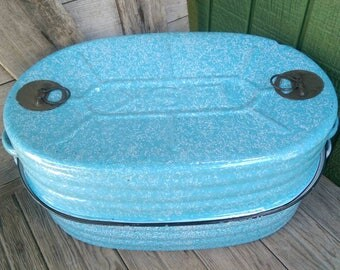 Vintage Large Lisk Roaster Pan Blue Speckled Enamelware Graniteware with Insert 3 Piece