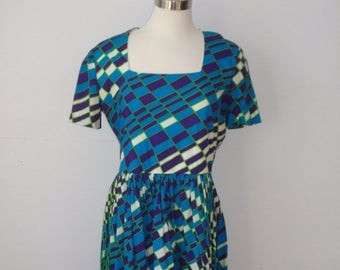 Vintage Turquoise Geometric Dress - Bright Colours Summer Dress - Womens Retro Clothing 1980s Daymor Couture Canada