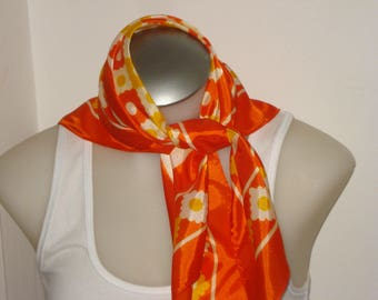 Vintage Orange and White Scarf - Square Scarves - Womens Accessories 1970s