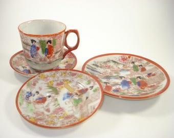 Japanese Porcelain Tea Cup and Three Plates  - Geisha Blue and Rws Decorative Vintage