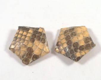 Snake Skin Pentagon Earrings - Clip on - Costume Jewelry - 1960s