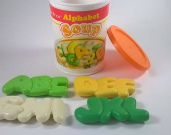 Vintage Play Food Toys - Alphabet Soup - Kids Cooking Baking Supplies - 1987 Fisher Price USA