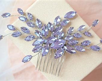 Lilac Rhinestone Hair Comb,Purple Bridal Hair Comb,Purple Wedding Hair Comb,Lavender Hair Comb,Purple Crystal Hair Comb,Lilac Hair Comb