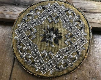 Amazing 1800s Beaded Tapestry Picture Panel, Floral Scrolls, Victorian Era, For Framing