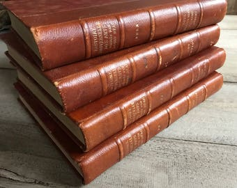 1 1930s French Leather Bound Books for Stacking Display, Medieval Art and Antique History, Paris, Chateau Chic, 4 Available
