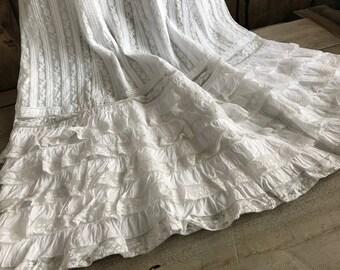 French White Lace Petticoat Slip, Bridal, Wedding,  Edwardian Victorian, Period Clothing