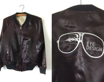 Eye Design Embroidered Vintage Bomber Jacket - Distressed 80s Aviator Glasses Satin Coaches Jacket - Mens Medium