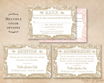 Printable Wedding Enclosure Cards - Vintage Lace - 3.5x5 - R.S.V.P. Response Reception Accommodations Lodging Other Cards