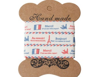 15mm x 1.8 ml of cotton fabric Ribbon motive France 785 sticker