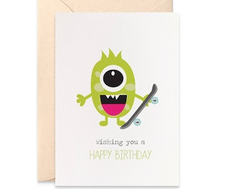 Birthday Card Boy, Card for Birthday Boy, Monster with Skateboard Card, Happy Birthday Card, Cards for Boys, Monster Card, Boy Card, HBC214