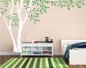 Birch Tree Nursery Wall Decal Forest Canopy Blowing Tree Leaves Vinyl Sticker Removable Choose From Over 50 Colors Custom 1376