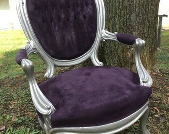 Antique Princess Slipper Parlor Chair Purple and Silver FREE SHIPPING