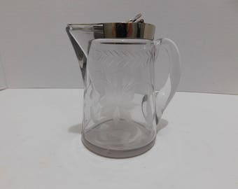 Beautiful Antique Heavy Etched Glass Syrup Pitcher
