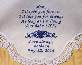 Mother of Bride Wedding Handkerchief by Embroidered Personalized  (#1712301)