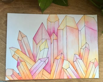 "Original Watercolor Painting, ""Crystal Garden"", Intrinsic Journeys, Crystal Watercolor"