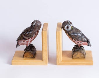 Vintage Wooden Bookends, Hand Carved Owl Bookends, Owl Bookend Set. 70s Bookcase Accessories