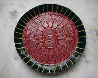 Hand carved ceramic platter, small clay platter