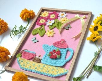 Crochet wall hanging, crochet wall art pattern, crochet home decor, teatime wall decor, pattern no. 95
