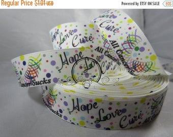 Hope love cure, All Cancers sucks Grosgrain Ribbon by the Yard 1 Inch RN16001