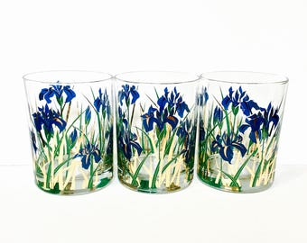 """Culver """"Blue Iris"""" Old Fashioned Glasses Blue/Green/Gold Glasses with Culver Logo, Mid Century Barware"""