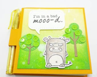 Mad Cow, Grumpling, Taylored Expression, Fun post it note holder, Bad Mood, cow theme gift