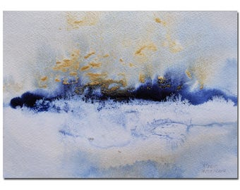 """Blue Forest, 11""""X8.5"""", Winter Landscape Painting, Original Acrylic painting, White, Abstract, Original Art, Christmas Gift, Birthday Gift"""