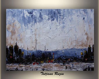 Mountain City, Abstract, Oil Painting, Blue, Art, ORIGINAL Abstract Painting, Impressionist, palette knife, Made to order