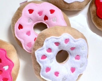 Valentine's Day Dog Toy | Hearts Donut | Squeaky Dog Donut | Dog Toy | New Dog Gift | Squeaky Toy | Puppy Toy | Squeaky Dog Toy |