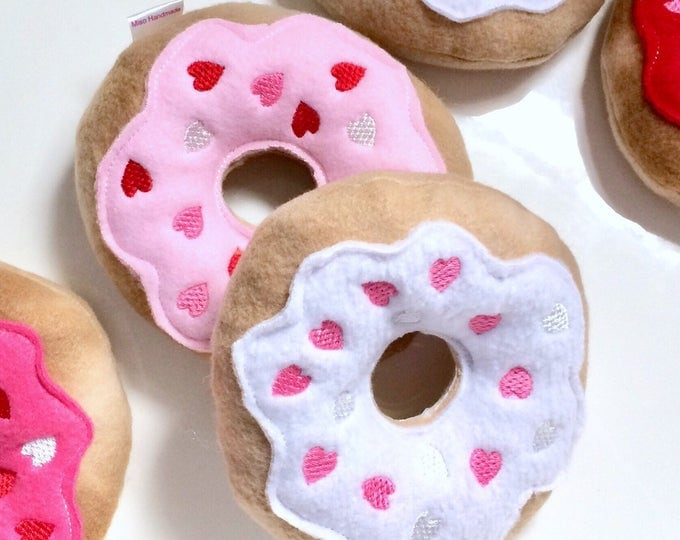 Featured listing image: Valentine's Day Dog Toy | Hearts Donut | Squeaky Dog Donut | Dog Toy | New Dog Gift | Squeaky Toy | Puppy Toy | Squeaky Dog Toy |