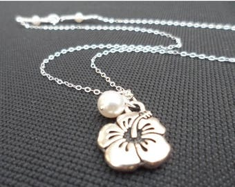 ON-SALE FlowerGirl Gift - Hibiscus Charm and Pearl Sterling Silver Necklace - Bridesmaids Necklace, Wedding Gift, Junior Bridesmaid Gift