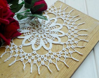 Elegant crochet doily 12 2/5 inches Lace doilies White lace decor Vintage decor Large crochet doily Crochet tablecloth 394