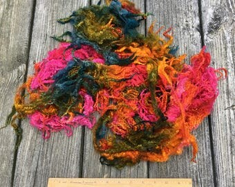 Dyed Bluefaced Leicester, BFL, Wool, Lamb Fleece, 3.1 Ounces, Spin, Felt, Last Rays of the Day