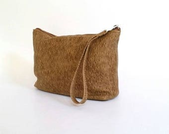ON SALE Camel Leather Bag with Wrist Strap, Trendy Wristlet Bags, Stylish Women Pouch Bags, Cosmetic Purse, Cosmos