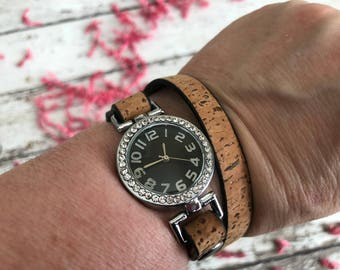 Brown Leather Wrap-Around Bracelet Watch for Dog Moms