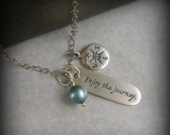 SALE Inspirational Necklace Enjoy The Journey Quote Jewelry Hand Stamped Jewelry Graduation Gift Personalized Jewelry Sterling Silver