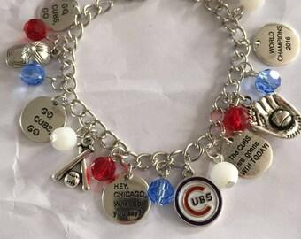 Chicago Cubs inspired charm bracelet GO CUBS GO