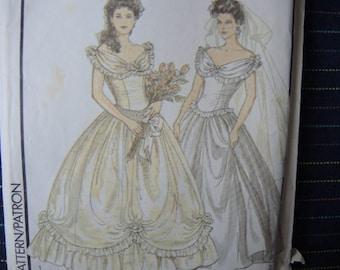 vintage 1980s Style sewing pattern 1501 misses wedding bridal dress size 12