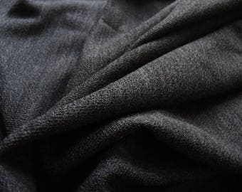vintage stretchy wool knit fabric dark gray 64 inches wide