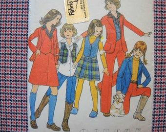 vintage 1970s Butterick sewing pattern 4989 Girls vest jacket skirt and pants size 14