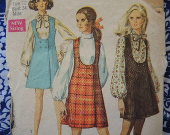 vintage 1960s Simplicity sewing pattern 8345 misses jumper in two lengths and blouse size 12