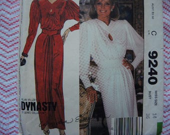 vintage 1980s McCalls sewing pattern 9240 Dynasty misses dress and  belt for stretch knits only size 14 UNCUT