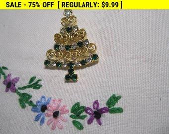 Rhinestone christmas tree brooch, vintage brooch