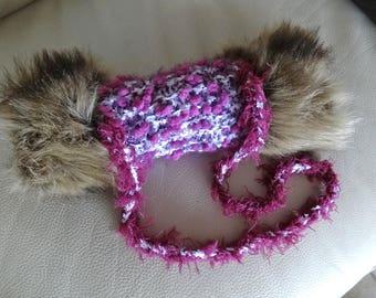 Girl: purple Russian sleeve hand knitted